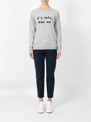 KISS ME SWEATER IN SILVER MARLE