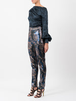 LUREX JACQUARD TROUSER IN BLUE