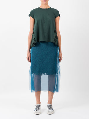 LACE CHIFFON SKIRT IN BLUE