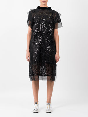 BLACK SEQUIN EMBROIDERY DRESS
