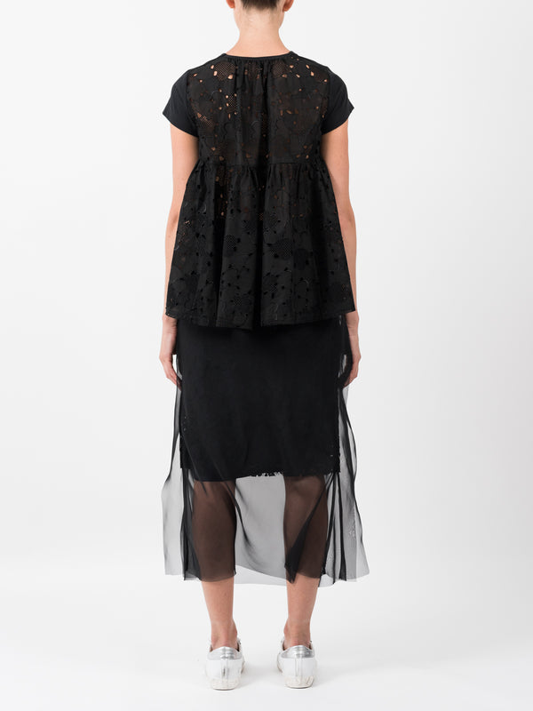 LACE CHIFFON SKIRT IN BLACK