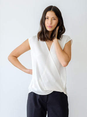 Sleeveless Soft Draped Blouse in White