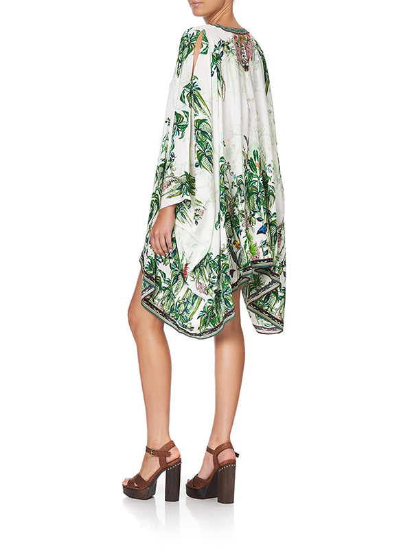 Camilla Split Shoulder Short Kaftan in Daintree