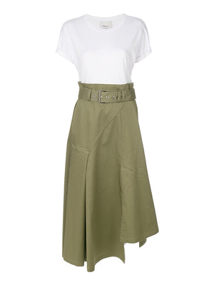 Short Sleeve Dress in Moss White