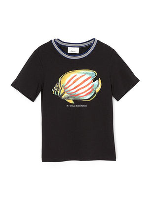 Short Sleeve T-Shirt w/ Fish Print In Black