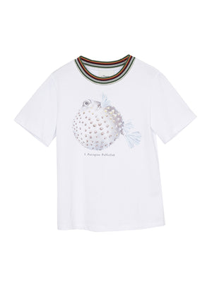 Short Sleeve T-Shirt w/ Fish Print In White