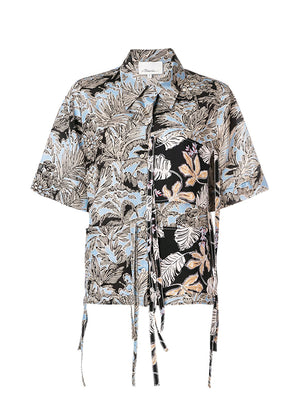 Short Sleeve Patchwork Shirt in Palm Tree