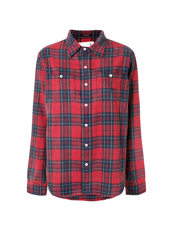 STRAPPED SLEEVE SHIRT IN RED PLAID