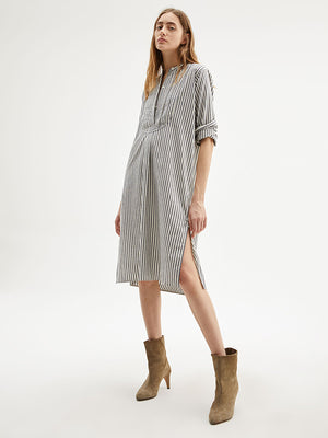 Nili Lotan Samantha Dress in Ivory/Black Stripe