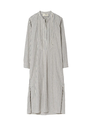 Samantha Dress in Ivory/Black Stripe