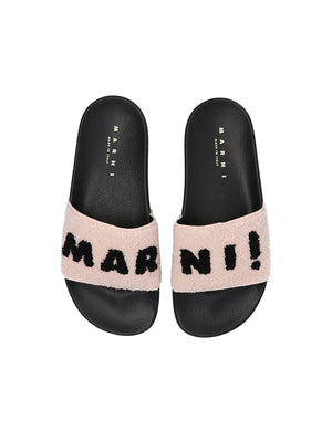 Marni Fur Logo Slides in Soft Pink and Black