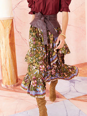Sanna Skirt in Pine Floral
