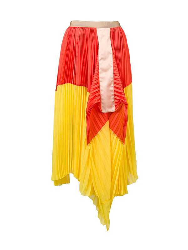 Satin Pleated Skirt In Orange/Yellow