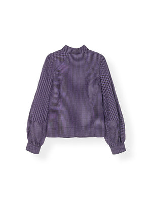 Seersucker Check Blouse In Lavender