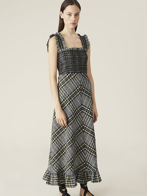 Ganni Seersucker Check Maxi Dress in Kalamata