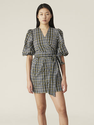 Ganni Seersucker Check Wrap Dress in Kalamata