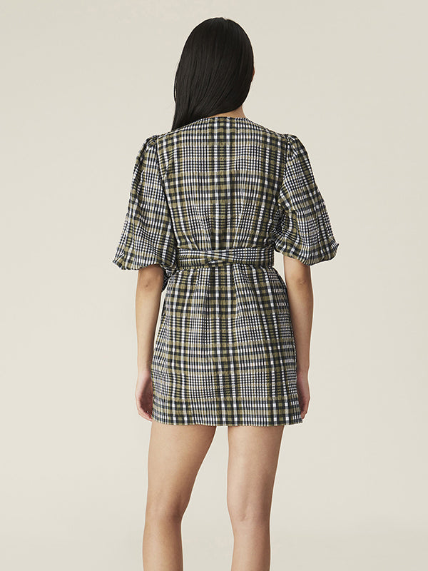 Seersucker Check Wrap Dress in Kalamata