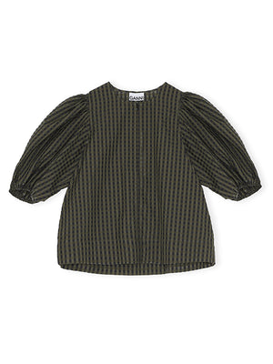 Seersucker Check Blouse In Kalamata