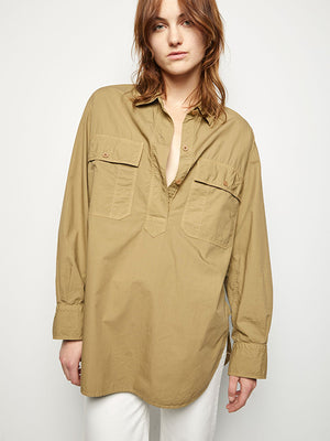 Nili Lotan Shae Shirt in Moss Green