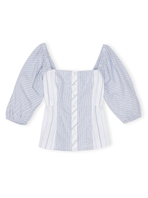 Ganni Cotton Puff Sleeve Top In Stripe