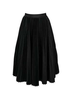 Pleated Asymmetric Skirt in Black
