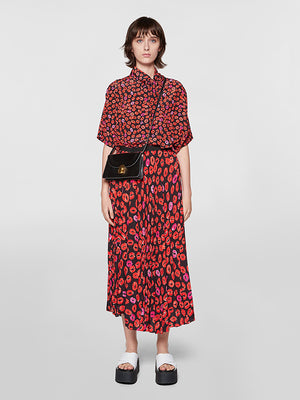 Marni Small Kisses pussy-bow lip-print silk-crepe shirt