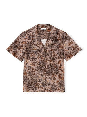 Cotton Short Sleeve Shirt in Fossil