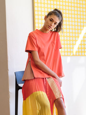 Side Pleated Top In Orange/Pink