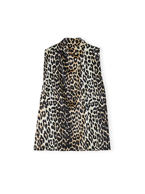 Silk Satin Top In Leopard
