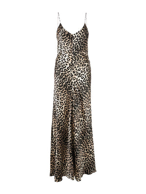 Silk Satin Slip Dress in Leopard