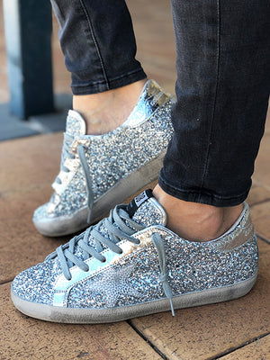 Sneakers Superstar Silver Glitter Iron Star