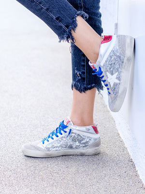 Sneakers Mid Star In Silver Paillettes