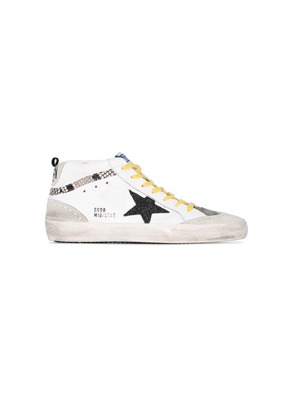 Sneakers Mid Star In White-Snake Print Black-Glitter