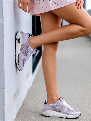 Sneakers Running Sole in Pink Glitter
