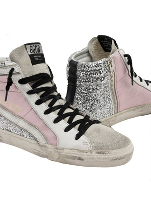 Golden Goose Sneakers Slide in Salmon Pink and Glitter