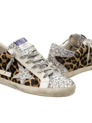 Golden Goose Sneakers Superstar in Leopard Horsy and Glitter Star