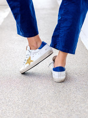 Sneakers Superstar in Navy/Gold Glitter Star