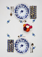 La DoubleJ Soup and Dinner Plates Set of 2 in Wildbird Blue