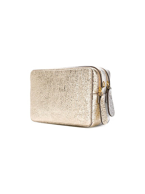 Stack Double Wallet on Strap in Light Gold