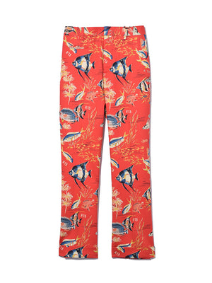 Straight Leg Trouser in Red Fish