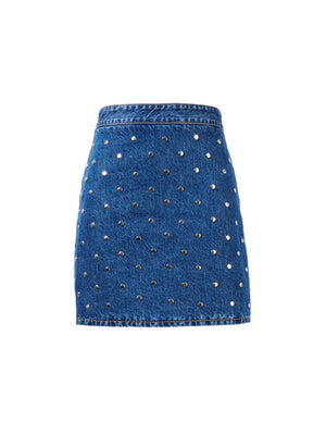 Stud Denim Mini Skirt