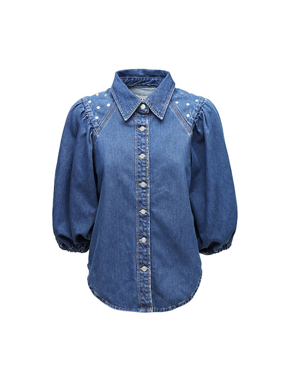 Ganni Stud Denim Shirt