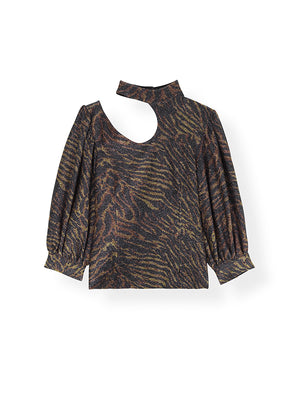Lurex Jersey Cut out Top in Tiger