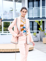 Textured Stretch Tailored Jacket In Blush