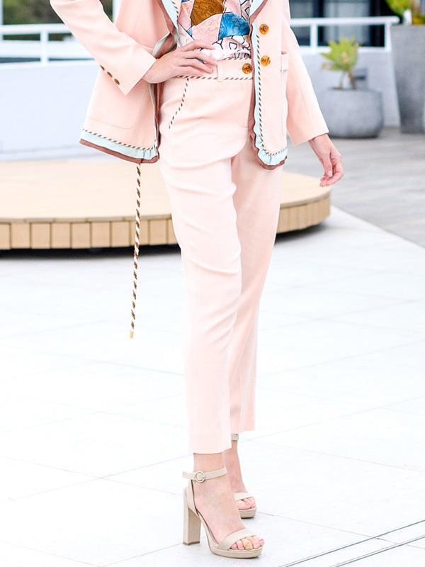 Textured Stretch Tailored Trousers Blush