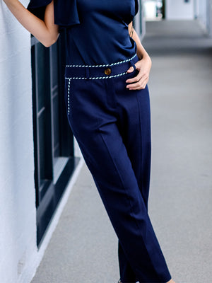 Textured Stretch Tailored Trousers In Navy