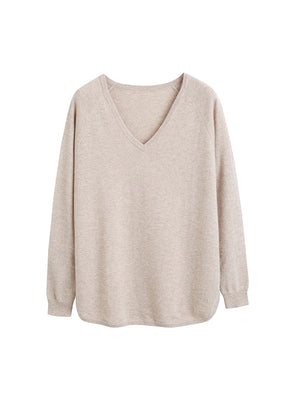 The V Neck Boat Sweater in Oatmeal