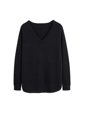 The V Neck Jumper in Black