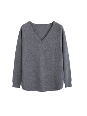 The V Neck Boat Sweater in Grey