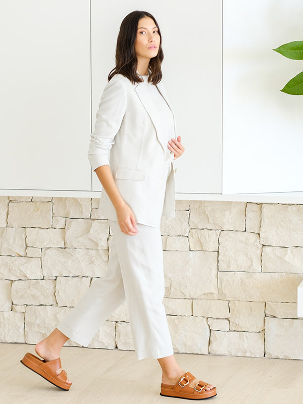 Pleated Trouser in Natural White